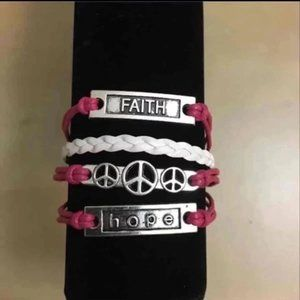 3/$15 ** Faith hope peace pink bracelet NWOT